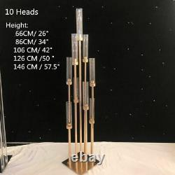 10 Heads Metal Candelabra Candle Holder Rod Lead Table Centerpiece Gold Wedding
