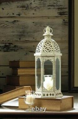 10 Lot White 16 Distressed Candle Holder TABLE Lantern Lamp Wedding Centerpiece
