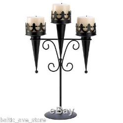 10 New Wicca Wedding Decor Table Centerpiece Black Candle Stand Set Medieval