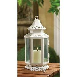 10 White colonial whitewashed shabby Lantern Candle holder table centerpiece