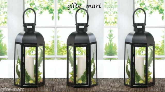 10 Large 13 Tall 6 Sided Black Candle Holder Lantern Wedding Table Centerpiece