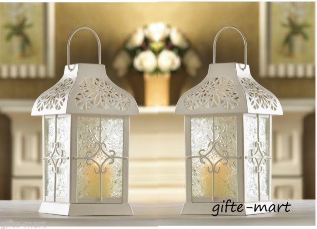 10 Lot White 9 Tall Flower Candle Holder Lantern Lamp Wedding Table Centerpiece