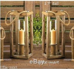 10 rustic wood 17 tall Candle holder lantern lamp wedding table centerpieces
