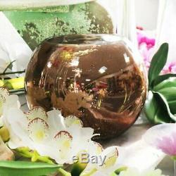 10 x Large. 15.5cm Rose Gold Mirrored Glass/Fish Bubble Bowl/Wedding Table Vases