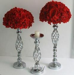 10Pcs Gold Flower Vase Table Candle Holder Pillar Stand Wedding Party Decoration