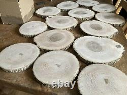 10x Rustic Wooden Centrepiece Rustic Wedding table Sanded Log Slices 28-30x2.5cm