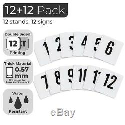 12 Inch Table Number Holder with Number Cards Set (1-12) Sturdy Chrome Place