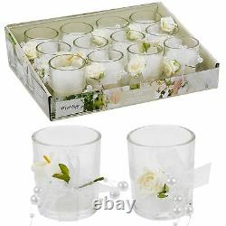 12 Scented Wedding Candles In Glass Fragrant Table Centrepiece Flower Decor