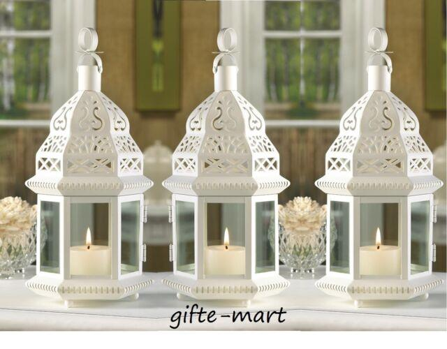 12 White Moroccan 12 Candle Holder Lantern Floral Wedding Table Centerpieces