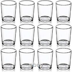 12Set Glass Votive Holder Clear Tealight Candle for Table Centerpieces & Wedding