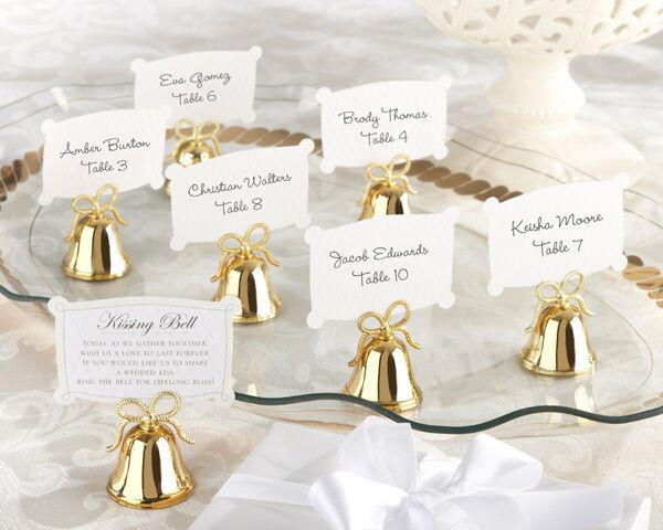 144 Gold Kissing Bell Wedding Place Card Photo Holder Favor With Heart Bow