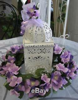 15 White Scrollwork Candle Holder Lanterns Wedding Table Decor Centerpieces NEW
