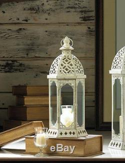15 lot White 16 distressed Candle holder Lantern Lamp wedding table centerpiece
