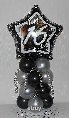 16th BIRTHDAY AGE 16 MALE- FEMALE FOIL BALLOON DISPLAY TABLE CENTREPIECE