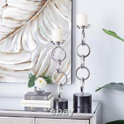2 Piece Silver Chain Candle Holders Centerpieces Tables