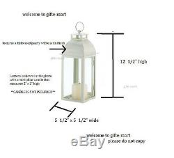 24 Distressed pearl WHITE shabby Candle Lantern holder wedding table centerpiece