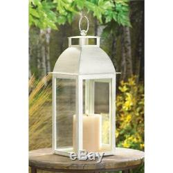 25 Distressed Pearl White Shabby Table Candle Lantern Holder Wedding Centerpiece