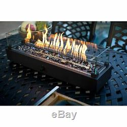 28 in. Outdoor Patio Dining Centerpiece Fire Pit Table with Free Cover and Rocks
