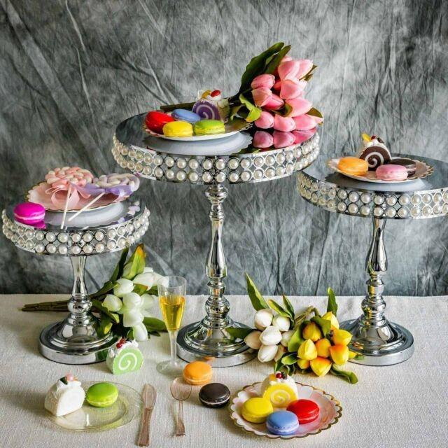 3 Silver Metal Pearl Beaded Cake Stands Riserslight Gray Table Centerpieces