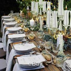 31 Tall 5 Arm Gold Sculpted Crystal Glass Table Top Candelabra Hurricane Taper