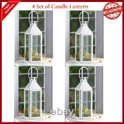 4 Lot Large White 15 Tall Candle Holder Lantern Lamp Wedding Table Centerpiece