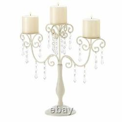 4 Metal Candelabras Distressed Ivory with Hanging Gems Centerpieces