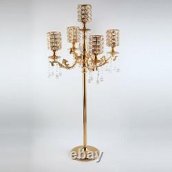 5 Arms Candelabra Crystal Tassel Candle Holder Table Centerpiece for Wedding