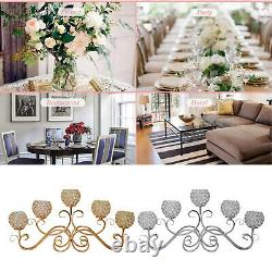 5 Arms Crystal Candelabra Candle Holders Table Decor Wedding Centerpiece