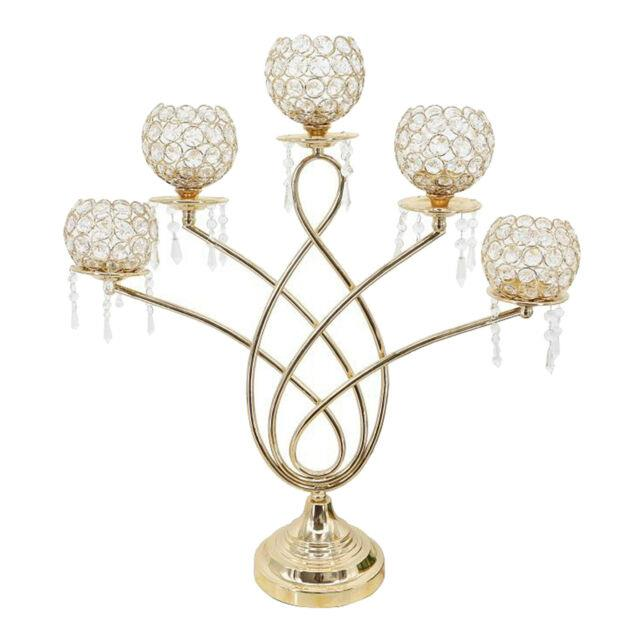 5 Arms Crystal Tealight Candle Holders For Table Centerpieces, Home Decor