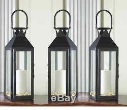 5 Large 15 tall BLACK Candle holder Lantern light wedding table centerpieces