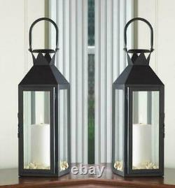 5 Lot Large 15 Black Tall Candle Holder Lantern Lamp Wedding Table Centerpieces