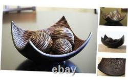 5-Piece Centerpiece Decorative Scoop Bowl with Balls/Orbs for Table Home Brown