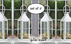 5 large WHITE 15 tall Candle holder Lantern light wedding table centerpiece