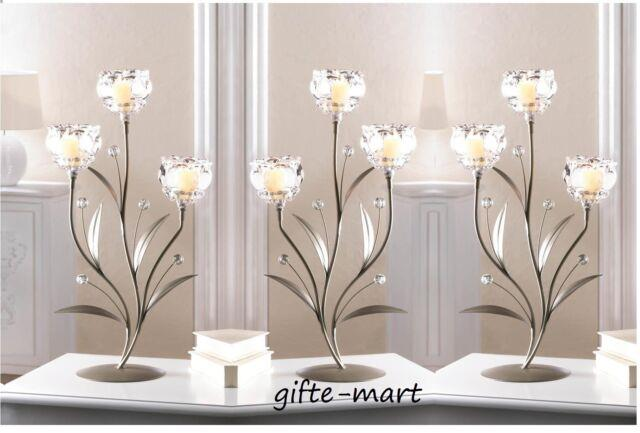 5 Silver Crystal Clear Flower 19 Tall Candle Holder Wedding Table Centerpiece