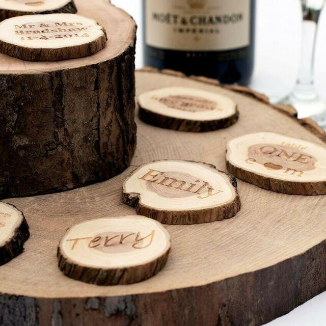 50 X Personalised Wedding Favours. Rustic Log Slices. Vintage Table Decorations