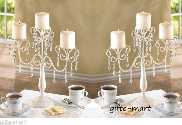 6 Ivory White Beaded Crystal Candelabra Candle Holder Wedding Table Centerpieces