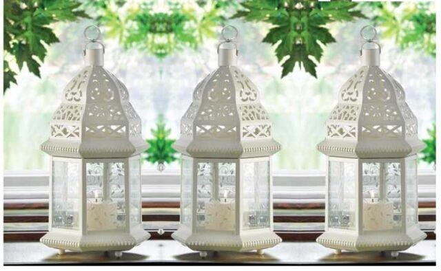 6 Lot White Moroccan Shabby 12 Candle Holder Lantern Wedding Table Centerpieces
