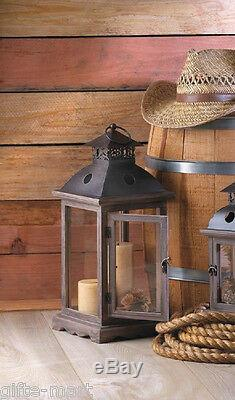 6 rustic wood & metal 18 tall Candle holder Lantern wedding table centerpiece