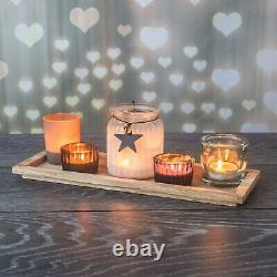 6pc Christmas Tea Light Candle Holder Wooden Tray Centerpiece Home Decor Party
