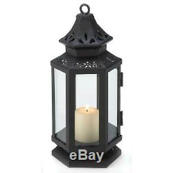 8 Black STAGECOACH Styled Candle LANTERN Lamp 8 tall Wedding Table Centerpiece