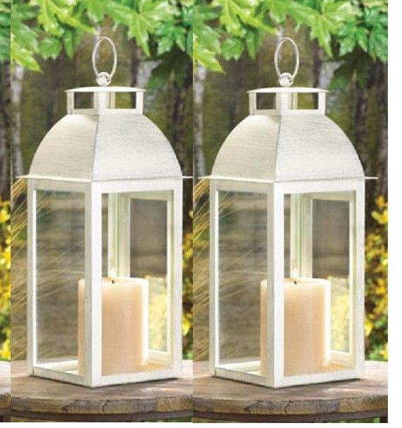 8 Distressed Pearl White Shabby Candle Lantern Holder Wedding Table Centerpiece