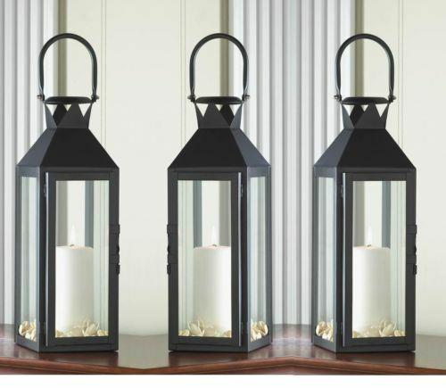 8 Large 15 Tall Black Candle Holder Lantern Light Wedding Table Centerpieces