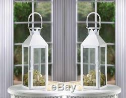 8 Lot Large 15 White Tall Candle Holder Lantern Lamp Wedding Table Centerpiece