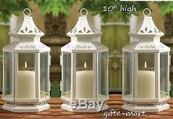 8 White 10 tall morrocan shabby candle holder lantern wedding table centerpiece