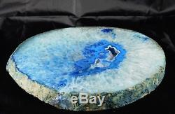 ASD34 Very Large Blue Agate Crystal Slice Geode Table Centerpiece Decor Gift 11