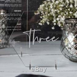 Acrylic Clear Hexagon Table Name or Number, Personalised Wedding Decoration
