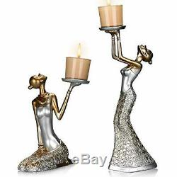 Antique Candle Holder Functional Stand 2pcs Table Decor Centerpiece White Small