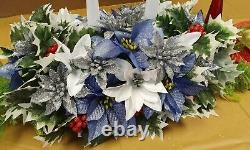 Artificial Christmas Table Centrepiece Blue Poinsettia Roses Berries Holly Ivy 7
