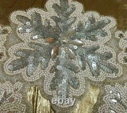 Beaded Winter White Silver Snowflake Crystals Table Runner Centerpiece 36x13