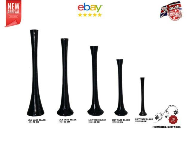 Black Glass Lily Vase Wedding Table Centrepiece In 30,40,50,60,70 Cmon Sale